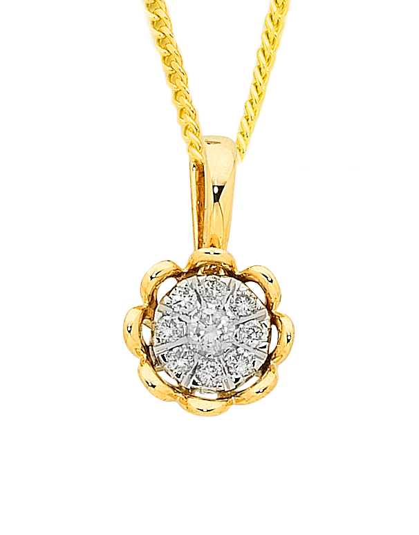 Diamond Pendant - Yellow Gold Diamond Pendant - 756959 - Salera's