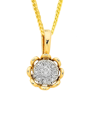 Diamond Pendant - Yellow Gold Diamond Pendant - 756959