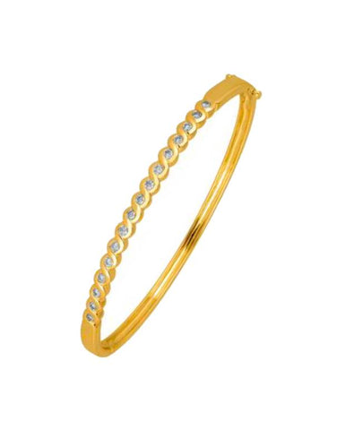 Diamond Bangle - Yellow Gold Diamond Set Bangle - 756962