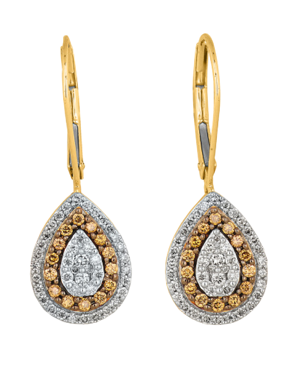 Diamond Earrings - Yellow Gold White & Champagne Diamond Drop Earrings - 756965 - Salera's Melbourne, Victoria and Brisbane, Queensland Australia