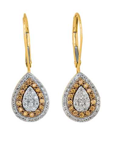 Diamond Earrings - Yellow Gold White & Champagne Diamond Drop Earrings - 756965