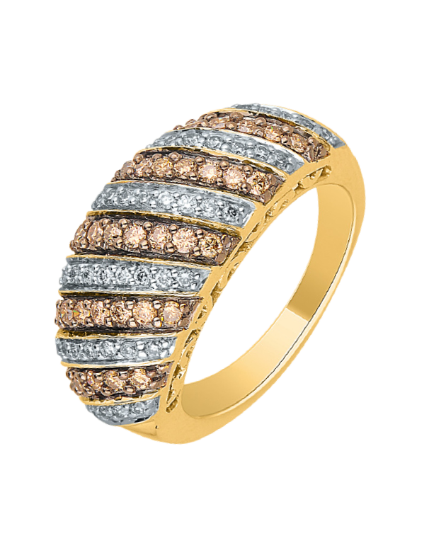 Diamond Ring - Yellow Gold White and Champagne Diamond Dress Ring - 756969 - Salera's Melbourne, Victoria and Brisbane, Queensland Australia
