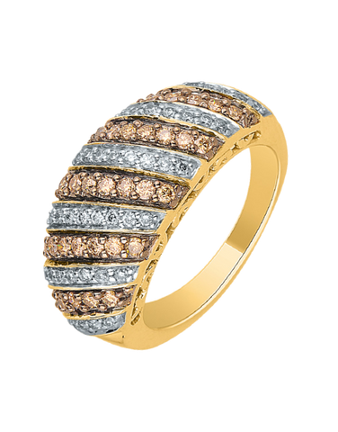 Diamond Ring - Yellow Gold White & Champagne Diamond Dress Ring - 756969
