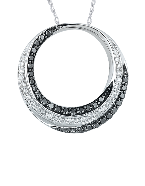 Diamond Pendant - Black & White Diamond Circle Pendant - 756973 - Salera's Melbourne, Victoria and Brisbane, Queensland Australia
