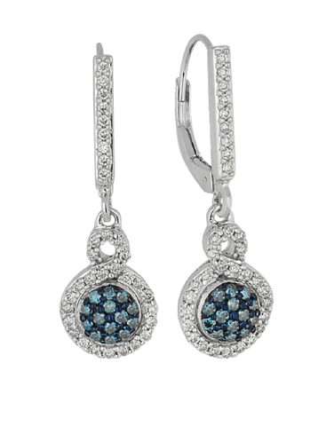 Diamond Earrings - Blue and White Diamond Set White Gold Earrings - 756974