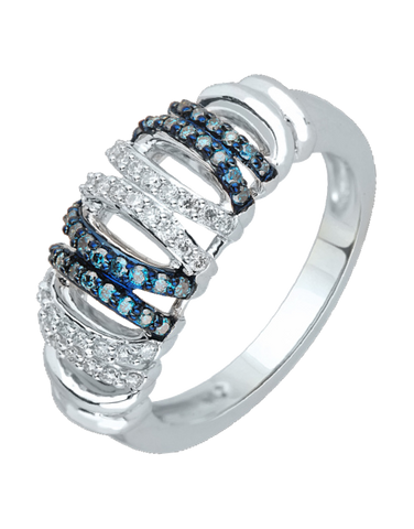 Diamond Ring - Blue and White Diamond Set White Gold Dress Ring - 756978