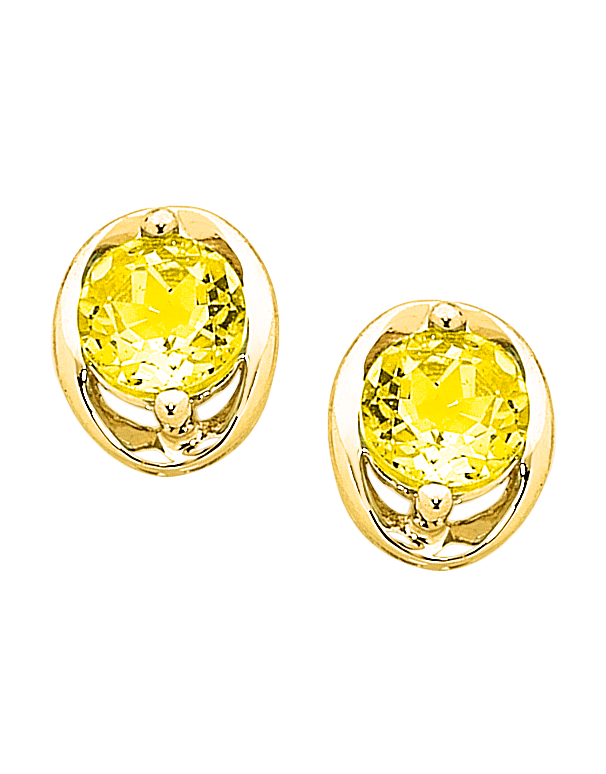 Citrine Earrings - Yellow Gold Citrine Stud Earrings - 757010 - Salera's Melbourne, Victoria and Brisbane, Queensland Australia