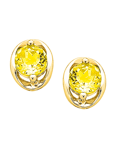 Citrine Earrings - Yellow Gold Citrine Stud Earrings - 757010