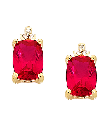 Ruby Earrings - Yellow Gold Ruby and Diamond Earrings - 757012