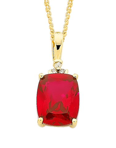 Ruby Pendant - Yellow Gold Ruby and Diamond Pendant - 757013