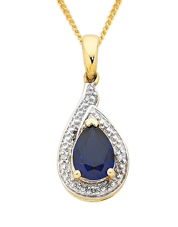Sapphire Pendant - 9ct Yellow Gold Sapphire and Diamond Pendant - 757015 - Salera's Melbourne, Victoria and Brisbane, Queensland Australia