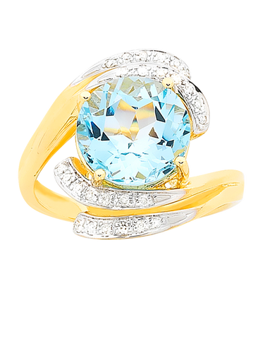Blue Topaz Ring - Yellow Gold Blue Topaz & Diamond Ring - 757023
