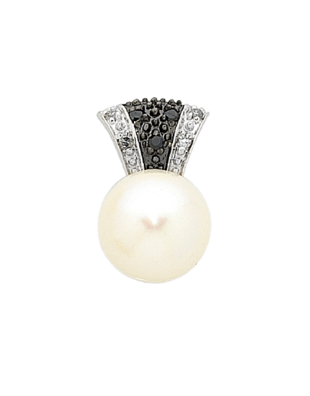 Pearl Pendant - Two Tone Diamond Set Pearl Pendant - 757034 - Salera's Melbourne, Victoria and Brisbane, Queensland Australia