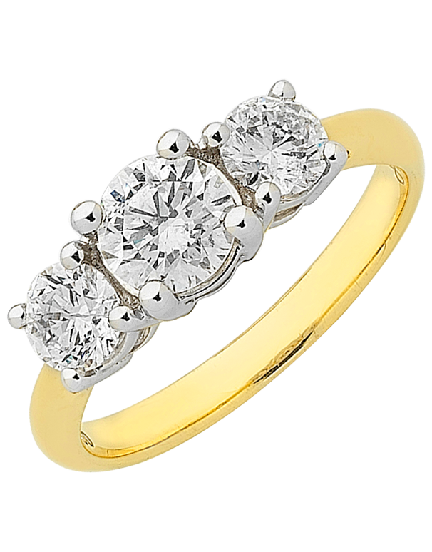 Diamond Ring - Two Tone Diamond Trilogy Engagement Ring - 757081 - Salera's Melbourne, Victoria and Brisbane, Queensland Australia