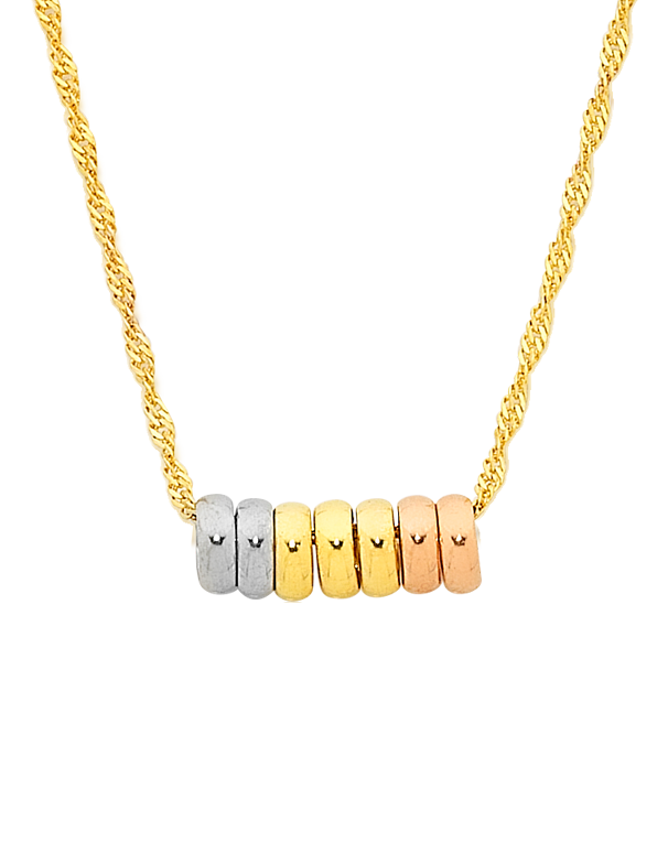 Gold Necklace - 9ct Three Tone 7 Rings of Luck Necklet - 757102 - Salera's Melbourne, Victoria and Brisbane, Queensland Australia