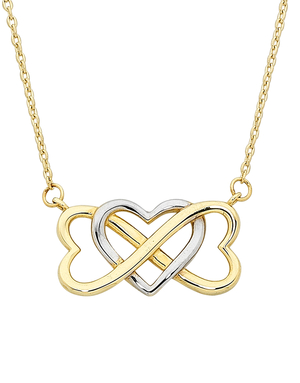 Gold Necklace - Two Tone Gold Heart Necklace - 757427 - Salera's Melbourne, Victoria and Brisbane, Queensland Australia