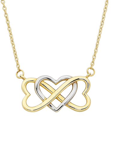 Gold Necklace - Two Tone Gold Heart Necklace - 757427