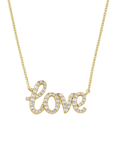 "CZ Necklace - Yellow Gold CZ ""Love"" Necklet - 757440"
