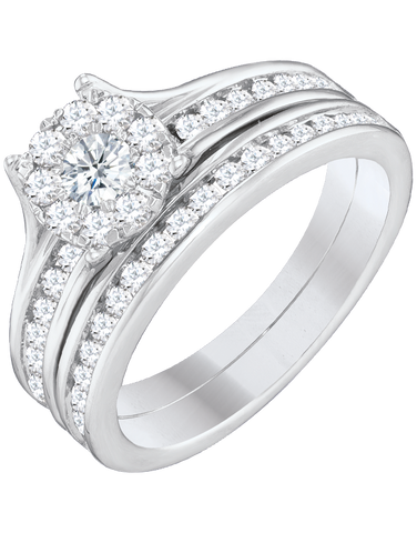 Bridal Set - White Gold Diamond Bridal Set Rings - 757630