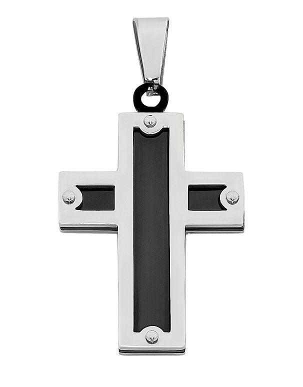 S-Steel Men's Steel Cross Pendant - 758074 - Salera's Melbourne, Victoria and Brisbane, Queensland Australia