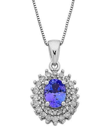 Tanzanite Pendant - White Gold Tanzanite & Diamond Pendant - 758178