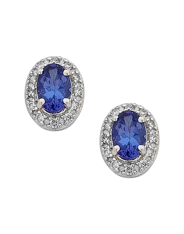 Tanzanite Earrings - White Gold Tanzanite and Diamond Earrings - 758179