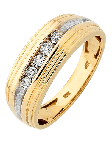 Men's Ring - Yellow Gold Diamond Set Ring - 758190
