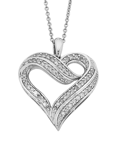 Diamond Pendant - Sterling Silver Diamond Heart Pendant - 758193
