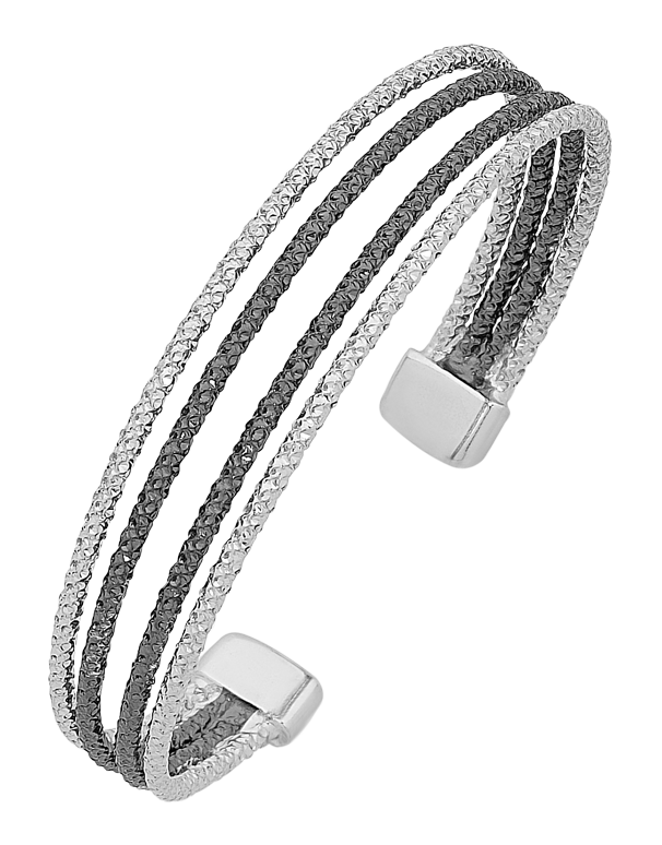Silver Bangle - Sterling Silver Two Tone Cuff Bangle - 758212 - Salera's Melbourne, Victoria and Brisbane, Queensland Australia