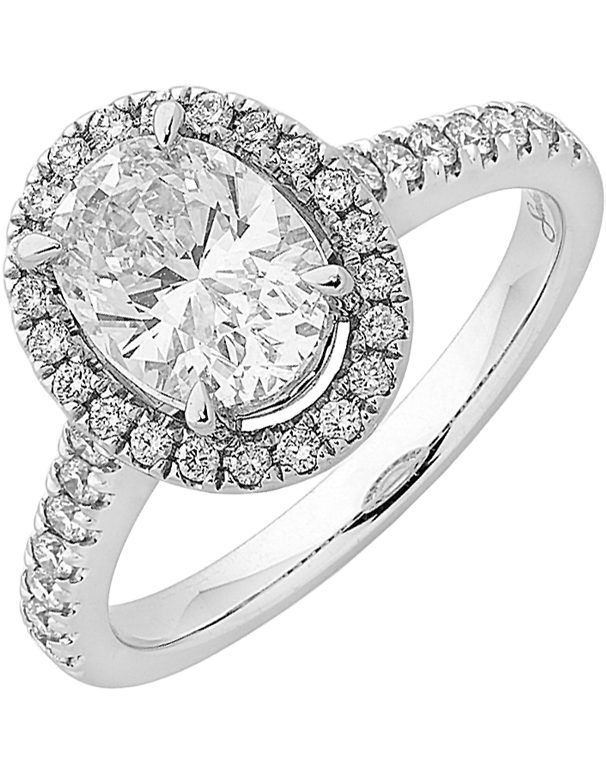 Diamond Ring - Oval Cut Halo Engagement Ring - 758327 - Salera's Melbourne, Victoria and Brisbane, Queensland Australia