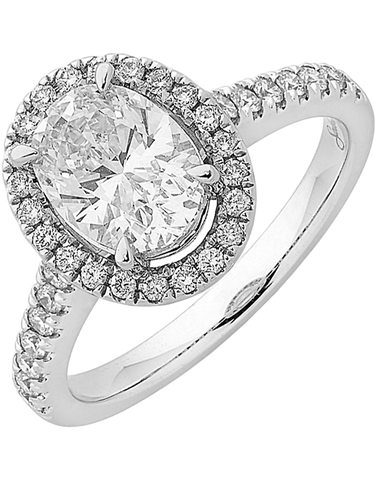 Diamond Ring - Oval Cut Halo Engagement Ring - 758327