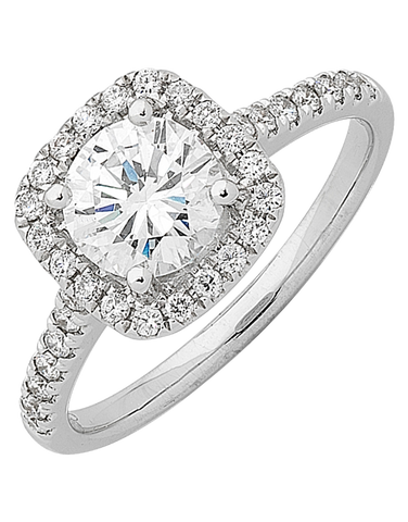 Diamond Ring - Round Brilliant Cut Halo Engagement Ring - 758328