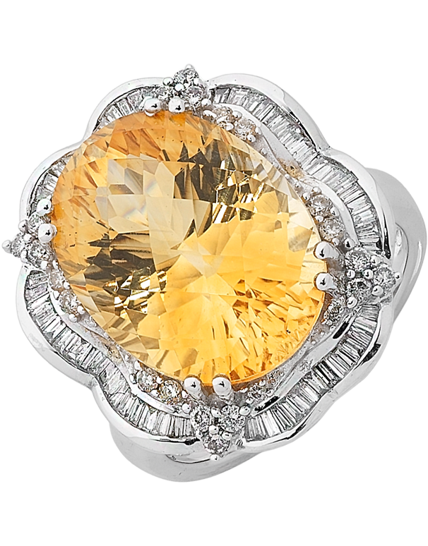 Citrine Ring - White Gold Citrine & Diamond Ring - 758467 - Salera's Melbourne, Victoria and Brisbane, Queensland Australia