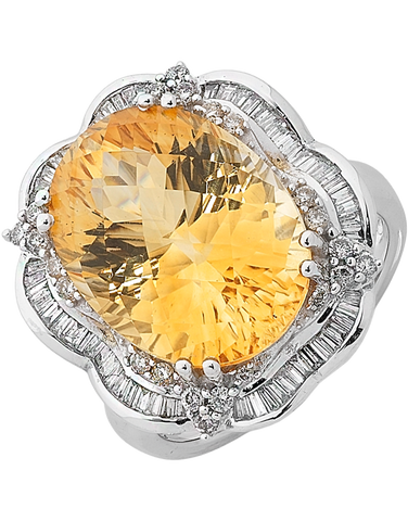 Citrine Ring - White Gold Citrine & Diamond Ring - 758467