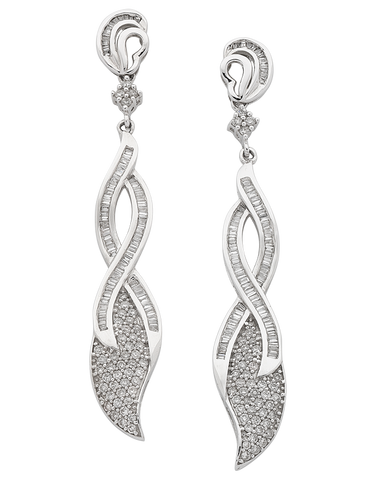 Diamond Earrings - Diamond Set White Gold Earrings - 758485