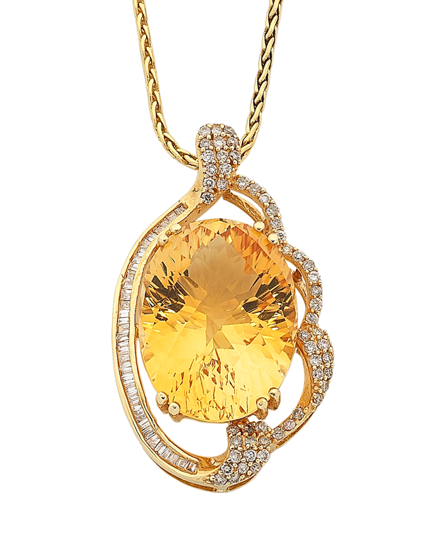 Citrine Pendant - Yellow Gold Citrine & Diamond Pendant - 758495 - Salera's Melbourne, Victoria and Brisbane, Queensland Australia