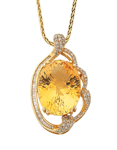 Citrine Pendant - Yellow Gold Citrine & Diamond Pendant - 758495