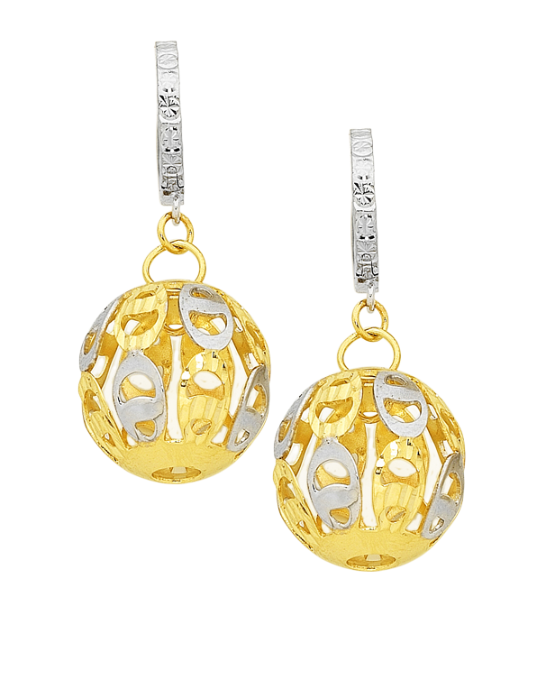 Gold Earrings - Two Tone Gold Drop Earrings - 758703 - Salera's Melbourne, Victoria and Brisbane, Queensland Australia