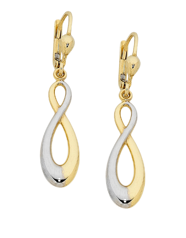 Gold Earrings - Two Tone Gold Infinity Earrings - 758750 - Salera's Melbourne, Victoria and Brisbane, Queensland Australia