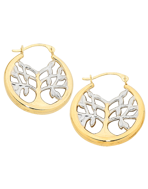 Gold Earrings - Two Tone Tree of Life Earrings - 758866 - Salera's Melbourne, Victoria and Brisbane, Queensland Australia