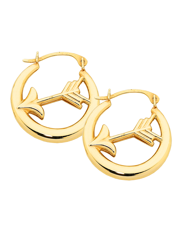 Gold Earrings - Yellow Gold Arrow Hoop Earrings - 758868 - Salera's