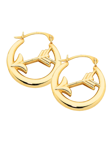 Gold Earrings - Yellow Gold Arrow Hoop Earrings - 758868