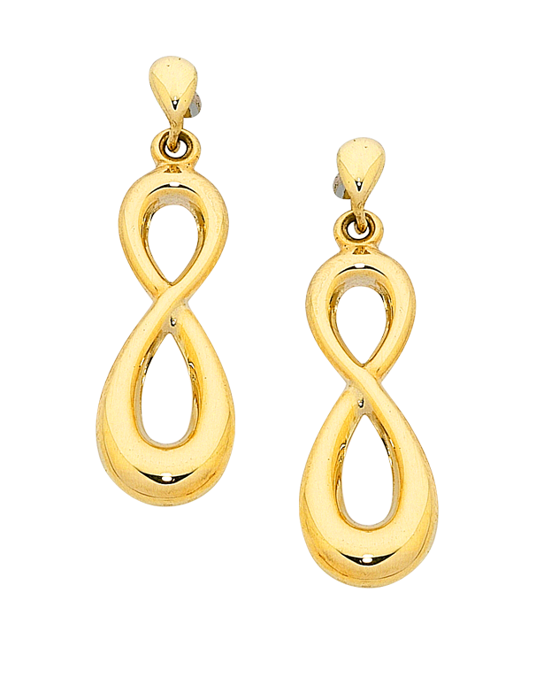 Gold Earrings - Yellow Gold Infinity Earrings - 758872 - Salera's Melbourne, Victoria and Brisbane, Queensland Australia - 1