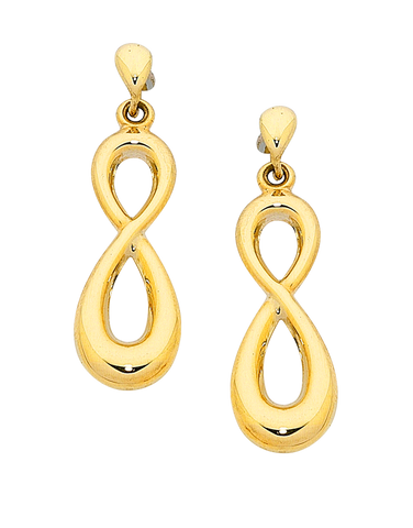 Gold Earrings - Yellow Gold Infinity Earrings - 758872