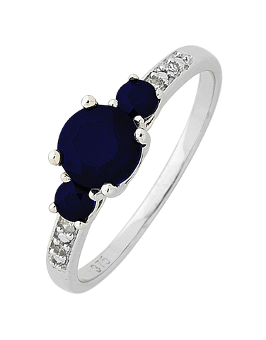 Sapphire Ring - White Gold Sapphire and Diamond Ring - 758904