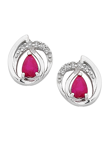 Ruby Earrings - White Gold Ruby & Diamond Earrings - 758905