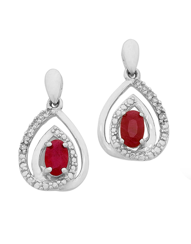 Ruby Earrings - White Gold Natural Ruby & Diamond Earrings - 758907