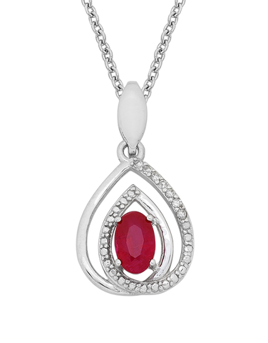 Ruby Pendant - White Gold Natural Ruby & Diamond Pendant - 758908