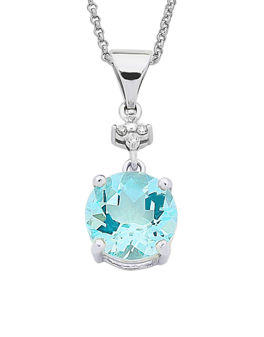Aquamarine Pendant - 9ct White Gold Aquamarine and Diamond Pendant - 758909
