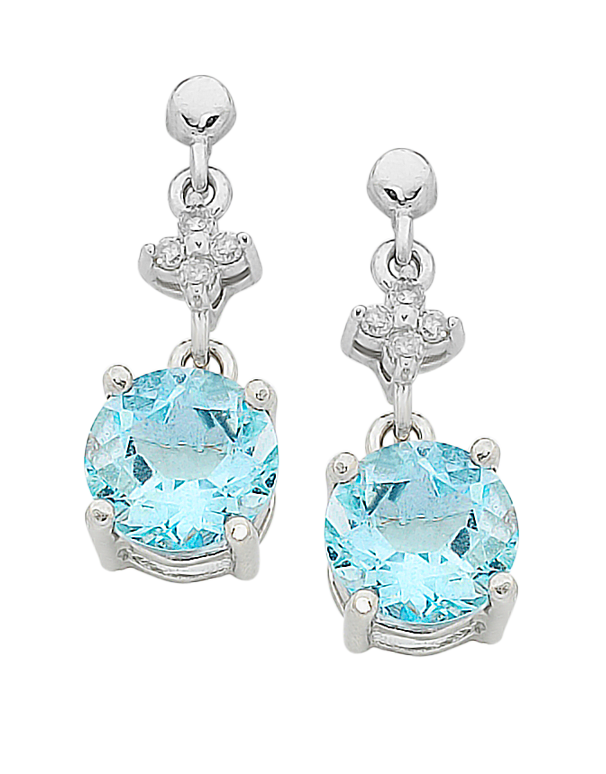 Aquamarine Earrings - 9ct White Gold Aquamarine and Diamond Earrings - 758910 - Salera's Melbourne, Victoria and Brisbane, Queensland Australia